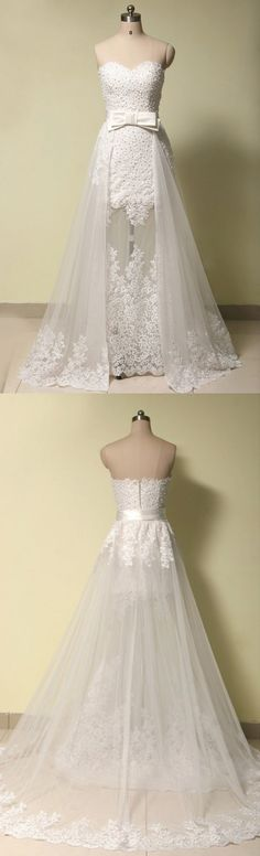 Modern Sweetheart Appliques With Pearls A-line Wedding Dress