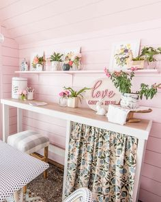 she shed reveal. Ready for some before and after photos of my small greenhouse woman cave?! The interior has lots of DIY ideas on a budget. The decor is shabby chic meets modern. It's painted pink with brass details and French bistro table and chairs. Get lots of decor inspiration for your backyard shed!
