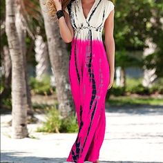 "Fuschia and white tie dye maxi dress Gorgeous maxi dress, perfect for summer!  Colors are super vivid!  Never worn Size L * Surplice neckline * Braided detail at empire waist * 42"" in length from natural waist * Poly/spandex Venus Dresses Maxi"
