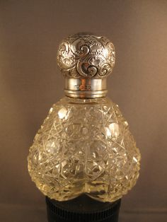 RARE Crystal Silver Heart Shaped Perfume Scent Bottle Signed London 1911 | eBay