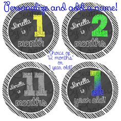 Chalkboard Milestone Stickers Available in Just Born - 24 months Can be personalized with name!