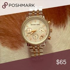Two toned Michael Kors Watch with diamond studs Gently used Michael Kors Accessories Watches