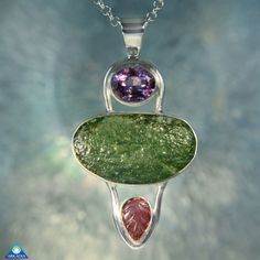 Amethyst Moldavite & Hand-Carved Pink by ArkadianCollection