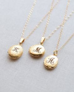 Diamond Cut Engraved Gold Locket Necklace by Olive Yew. Add an initial to the front and also engrave the inside! These small gold filled lockets make a beautiful keepsake gift.