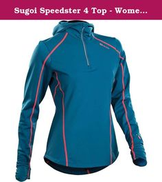 Sugoi Speedster 4 Top - Women's Baltic Blue Small. FEATURES of the Sugoi Women's Speedster 4 Top MidZero fabric is a perfect mid-weight thermal layer for superior moisture management and full-stretch mobility Form fitted hood with sleek funnel neckline and comfort finish Clean finished thumbholes at the cuffs add coverage and help keep hands warm 9 inch front zip for customized ventilation Watch window, chest pocket, and 1 back pocket with media cord access for storing run essentials.