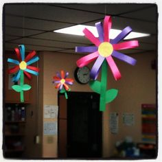 Oversized construction paper flowers we made in pre-k for decorations.  Basically you need multi-colored construction paper cut into one inch strips, green leaves of any size/shape, and two yellow circles for the middle.   We alternated the colors of paper for the petals.   Start by glueing one strip to the yellow circle. Then alternate colors all the way around. Let that dry for a bit. Be sure to leave room and glue the green strip down for the stem.   Then fold the petal strips over to…