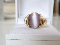 New 14K Gold Sterling Silver Purple 925 Cats Eye Chrysoberyl Ring Sz 10 Mens ? #Designer #Solitaire