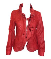 Red Ruffle Jacket Red Leather, Leather Jacket, Must Haves, Park, Jackets, Fashion, Studded Leather Jacket, Down Jackets, Moda