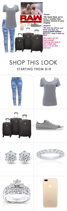 """""""Arriving to the arena with Stephen and Cesaro"""" by xxxladiidxxx ❤ liked on Polyvore featuring Simplex Apparel, Delsey, WWE, Converse, Belk & Co. and Kobelli"""