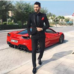 prom tuxedo Online Shop Custom Made High Quality Black Two Pieces Mens Suits Slim Fit Wedding Grooms Tuxedos Cheap Formal Prom Party Suit (Jacket+Pants) Homecoming Outfits For Guys, Prom For Guys, Homecoming Suits, Male Prom Outfits, Casual Outfits, Black And Red Suit, Black Suit Men, All Black Suit Prom, All Black Fitted Suit