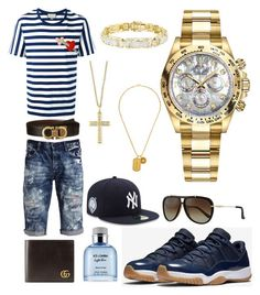 """Casual"" by pitbull8382 on Polyvore featuring Gucci, PRPS, Salvatore Ferragamo, Dolce&Gabbana, Effy Jewelry, New Era, Rolex, Versace, men's fashion and menswear"