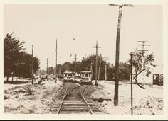 Urbandale Trolley track  at 46th and Urbandale Dr. in Beaverdale, 1930s