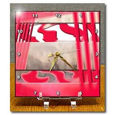 Red Stripes From the Reflection of the Sun Roof on a Car Made into Layers, Beveled and Swirled Desk Clock