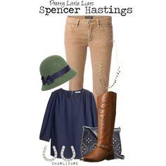 Spencer Hastings by charlizard on Polyvore featuring H&M, Dolce&Gabbana, Frye, Vera Bradley, Ileana Makri, J.Crew, Grace Hats, PrettyLittleLiars, pll and TV