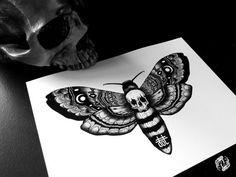 DEATH'S HEAD MOTH - Art Print - Skull Design - Intricate Illustration - Dotwork Linedrawing - Dark Art - Tattoo - Blackwork