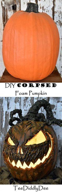 c68d944f28f1 DIY Corpsed Foam Pumpkin- really good option for when you need a pumpkin  head