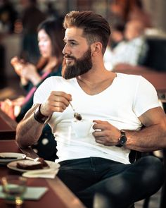 "D A N   J Ü R G E N | 🇩🇪's Instagram post: ""Life Happens, Coffee Helps  #stayhome #coffee #kaffee #beard"" Boy Hairstyles, Men's Hairstyle, Rings For Men, Coffee, Beards, Hair Styles, Instagram Posts, Dan, Life"