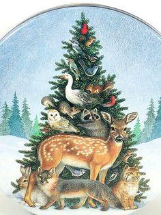 Vintage Christmas Tin, Round, Christmas Tree with Wildlife Theme, Gorgeous! Christmas Gift Decorations, Christmas Crafts For Gifts, Christmas Tree Themes, Cozy Christmas, Christmas Pictures, Tree Decorations, Christmas Time, Vintage Christmas, Xmas
