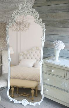 French Provencal Leaning Mirror Vintage by smallVintageAffair, $698.00