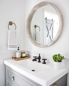 I finally posted a tutorial for this barn door in stories today! I will save it to my DIYs highlight so you can reference it later. I hope… Bathroom Goals, Bathroom Inspo, Bathroom Inspiration, Modern Bathroom, Design Bathroom, Widespread Bathroom Faucet, Lavatory Faucet, Bathroom Faucets, Laundry Room Remodel