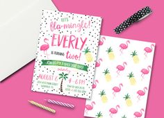Flamingo Pineapple Party Birthday Invitation - Digital File Summer Birthday Pool Party Fruit Summertime Party Pineapple of my Eye