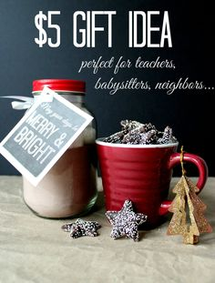 Great $5 gift idea - perfect for teachers, coworkers, neighbors, babysitters. Great simple Christmas gift with free printable tags!
