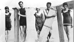 Photo Greeting Card (other products available) - Two young men and three young ladies posed with surf boards on the beach at Perranporth. - Image supplied by Royal Cornwall Museum - inch Greetings Card made in the UK Images Vintage, Vintage Pictures, Vintage Photographs, Ford Modelo T, Bikini Rouge, Photos Rares, Beach Activities, Reportage Photo, Vintage Surf