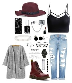 """""""Maroon Accents."""" by sydddneysmith on Polyvore featuring Genetic Denim, Dr. Martens, Bling Jewelry, Christys', Essie, Casetify, Cartier, Retrò, ELSE and Nixon"""
