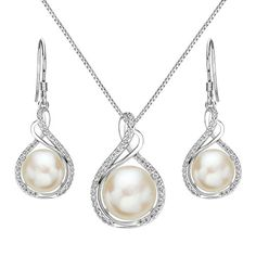 EleQueen 925 Sterling Silver CZ Cream Freshwater Cultured Pearl Infinity Bridal Necklace Hook Earrings Set Clear -- You can find out more details at the link of the image.