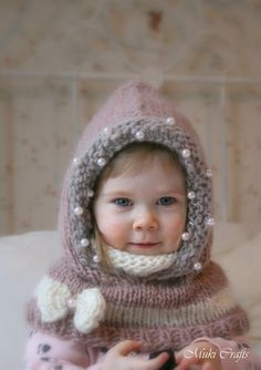 """*** This listing is only a PDF PATTERN in ENGLISH and not a finished product ***  This is a knitting pattern for hood Adele with a cowl inside which gives good coverage. This will make a wonderful gift for your loved one. Perfect to wrap up those cold autumn and winter days and look cute. Decorated with a bow and beads to give extra sparkle :)  Sizes: baby/toddler/child/adult  Skill level: easy/intermediate  You need Super Bulky (5-6 wpi) yarn in 3 colors, 200-300g (216-324 yards) total. 16""""…"""