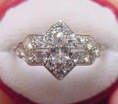 Vintage Cartier Platinum Diamond Ring. 1920.