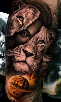 50 Eye-Catching Lion Tattoos That'll Make You Want To Get Inked - 50 Eye-Catching Lion Tattoos That'll Make You Want To Get Inked creative lioness t - Female Lion Tattoo, Lion Head Tattoos, Mens Lion Tattoo, Dog Tattoos, Tattoos Skull, Lion Tattoo Sleeves, Full Sleeve Tattoos, Lion Tattoo Design, Best Tattoo Designs