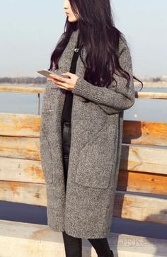 Long Sleeve Knitted Women's #Cardigan With Pockets