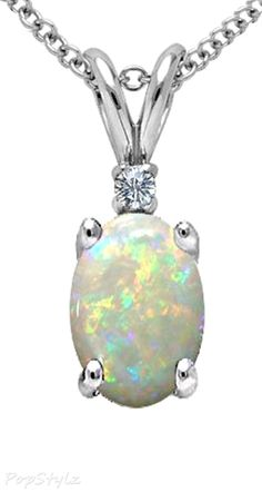 Genuine Opal and Diamond Necklace