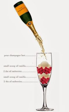 Rasberry Ice Cream Champagne drink alcohol diy ingredients drink recipes diy party favors diy party ideas diy drink Hill this looks yummy we would try this instead of mimosas Champagne Drinks, Champagne Bottles, Cocktail Drinks, Cocktail Recipes, Alcoholic Drinks, Beverages, Champagne Recipe, Champagne Brunch, Nigella Lawson