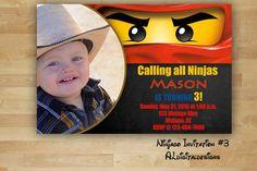 Lego Ninjago, Ninjago Invitation, Ninjago Birthday Invitation by ALdigitaldesigns on Etsy https://www.etsy.com/listing/230671716/lego-ninjago-ninjago-invitation-ninjago