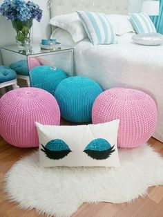 Puf Throw Pillows, Bed, Home Decor, Toss Pillows, Decoration Home, Cushions, Stream Bed, Room Decor, Decorative Pillows