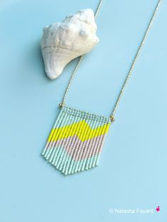 Mint green yellow and peach - Woven micro macrame and miyuki delicas pendant - Graphic boho chic jewelry - Flash patterns