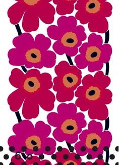 Marimekko Unikko Red Canvas Fabric The Marimekko Unikko flower fabric has red and pink flowers with orange centers and black stems. This popular Marimekko design was created by Maija Isola in This fabric can be used for upholster. Motifs Textiles, Textile Patterns, Floral Patterns, Prints And Patterns, Indian Patterns, Design Patterns, Vintage Patterns, Design Textile, Fabric Design
