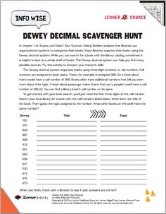 A Dewey Decimal Scavenger Hunt? Sign us up! Get out your magnifying glass and download this free activity based on Assess and Select Your Sources (part of our Info Wise series for 4th-6th graders). Common Core: RI.5.7, W.5.8