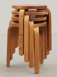 Alvar Aalto; #E60 Birch Stacking Stools for Artek, 1934.