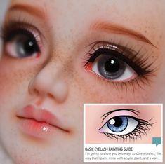 Painting a doll face, basic eyelash painting. More Painting a doll face, basic eyelash painting. Custom Monster High Dolls, Monster High Repaint, Custom Dolls, Doll Repaint Tutorial, Doll Tutorial, Doll Face Paint, Doll Painting, Clay Dolls, Bjd Dolls
