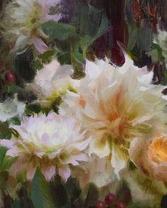 Close up of Café au Lait Dahlias, oil, Daniel Keys Daniel Keys, Daniel J, Painting Still Life, My Favorite Things, Painted Flowers, Dahlias, Instagram, Florals, Stage