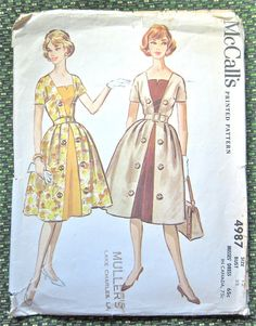 Vintage 50s dress sewing pattern by McCalls 4987.  by Fancywork, $17.00
