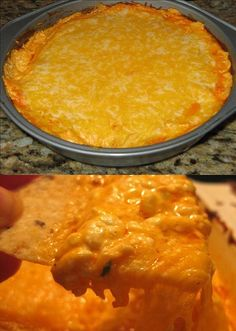 Buffalo Chicken Dip •2 (8 ounce) packages cream cheese, softened •1 cup ranch dressing •3/4 cup red hot sauce •1 (10 ounce) can chicken, drained (or equivalent rotisserie or freshly-cooked, chopped chicken) •shredded cheddar cheese, you decide how much