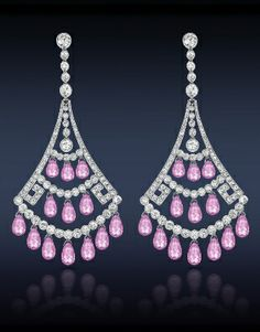 Pink Sapphire and Diamond Chandelier Earrings :: Jacob & Co.