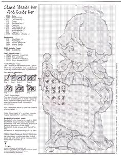 """""""Stand Beside Her and Guide Her"""" Precious Moments patriotic cross stitch pattern 2/2"""