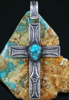 Calvin Martinez Rare Gem Grade Lone Mountain Spiderweb Turquoise Ingot Cross