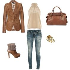 Those boots aren't really my thing but I love the shirt and jacket combo.  #Neutrals.