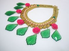 Fashion Bridal Jewelry by Riddhika Jesrani Jewelry. Made from: Crystals, shell pearls, acrylic, glass in pinks, greens and yellow. www.facebook.com/riddhikajesranijewelry